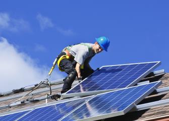 Photo of a Solar Photovoltaic Installer.