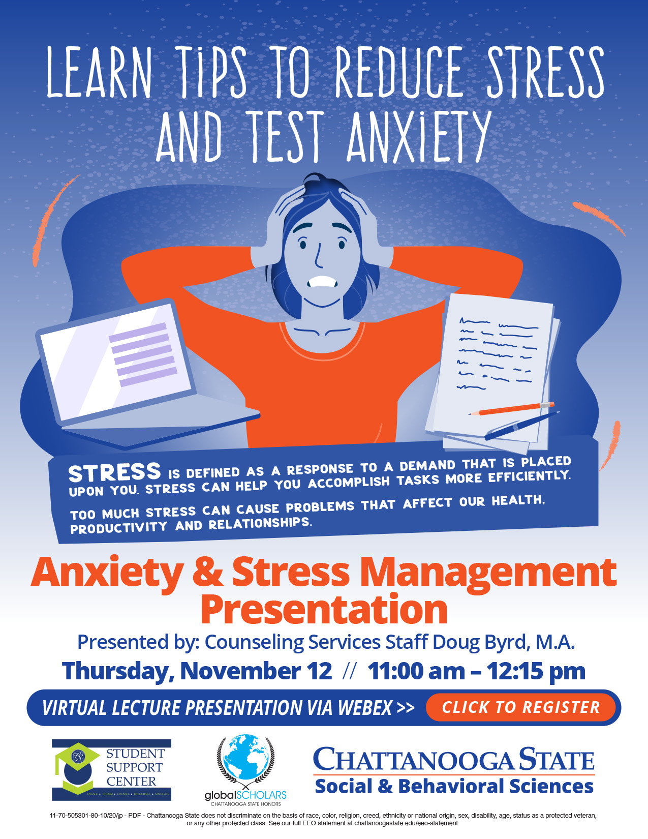 anxiety and stress relief presentation flyer