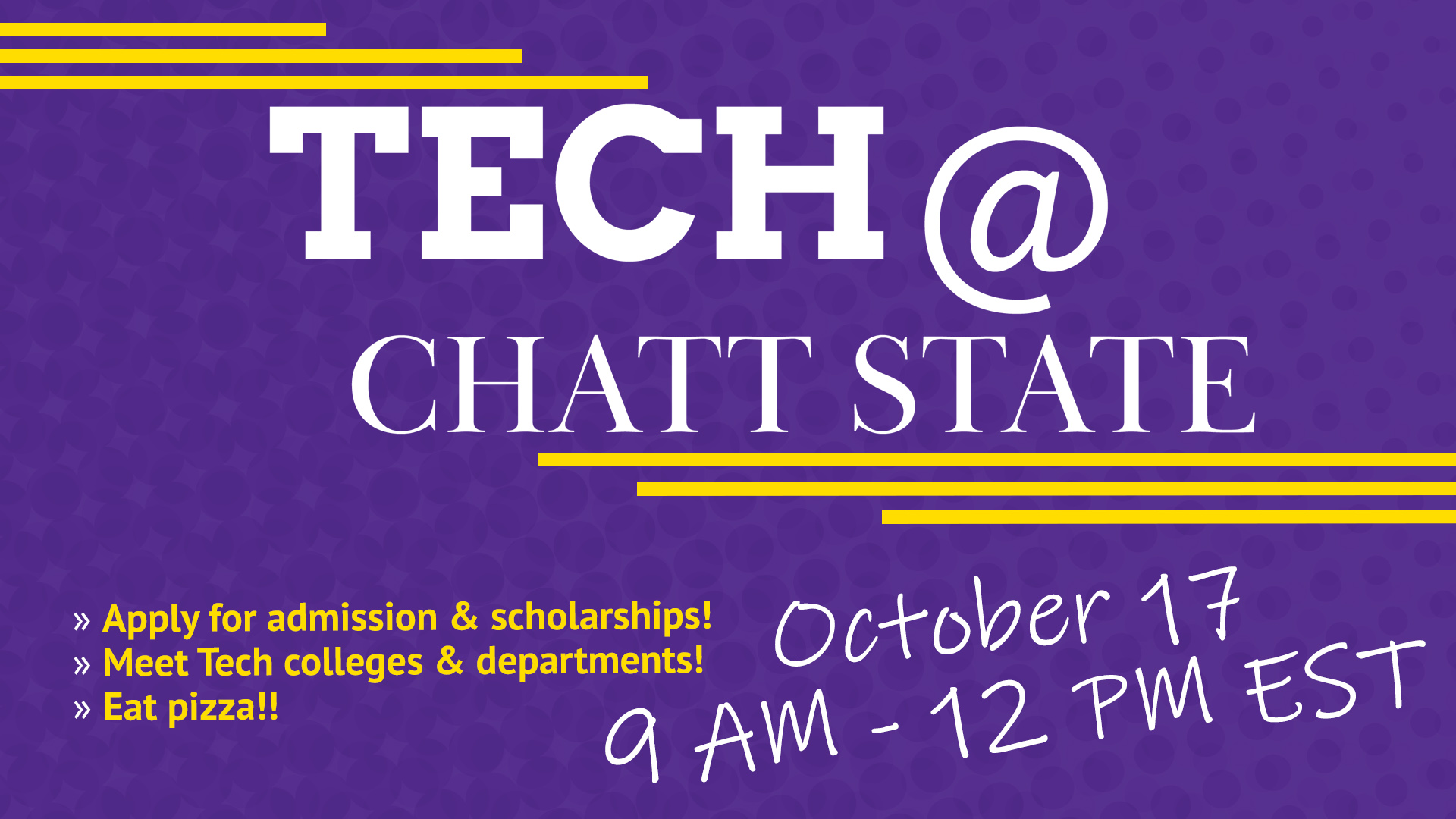 Tennessee Tech is visiting  ChattState on October 17 from 9:00am to 12:00pm