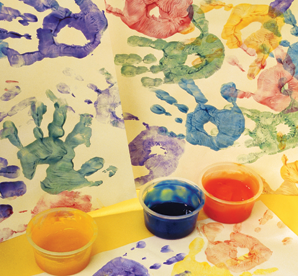 Colorful painted handprints