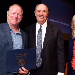 Dan Zink, First Tennessee Chair of Excellence; Bobby Lusk, senior vice president, First Tennessee; and Dr. Rebecca Ashford, president, Chattanooga State Community College.