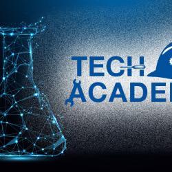 chemistry beaker with tech academy logo
