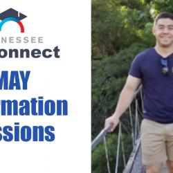 andrew wetzel on a bridge with tn reconnect logo and may info sessions