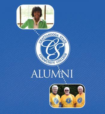 alumni lady and three men and chattstate logo