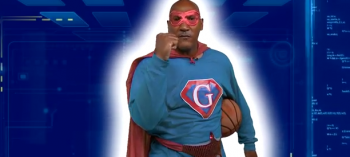 Coach Jay Price in the Captain Giver super hero costume