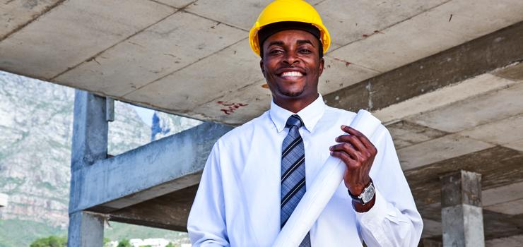 A construction leader pose on construction site